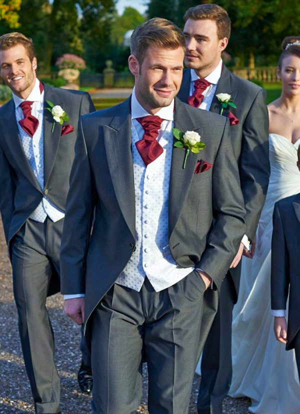 Burford, stylish charcoal grey Tailcoat or Morning Suit the most popular choice for the classic Groom
