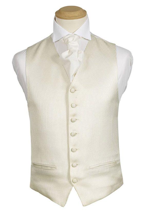 Formal Waistcoat - Mottram Ivory Stripe