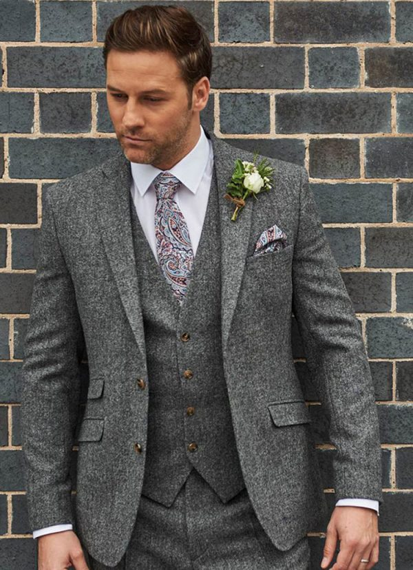 Tweed Wedding Suit Hire, Grafton Tweed Suit, Grey, slim fitting, lightweight suit with matching waistcoat is ideal for weddings